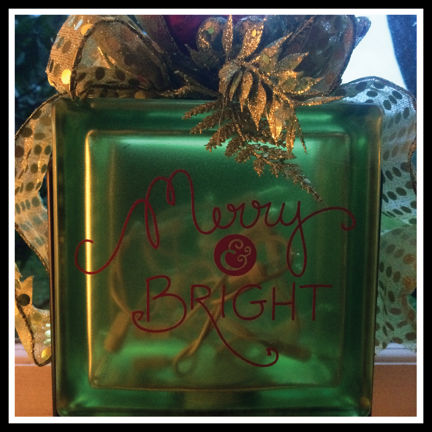 Merry bright glass block artful musings for Glass blocks for crafts lowes